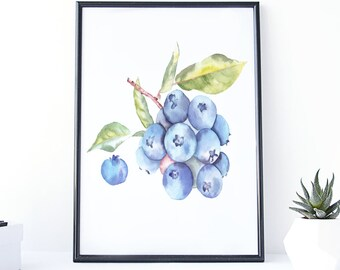 Etonnant Blueberry Art, Blueberry Kitchen Decor, Blueberry Painting, Fruit  Watercolor, Painting Watercolor, Kitchen Printable Art, Art Watercolor