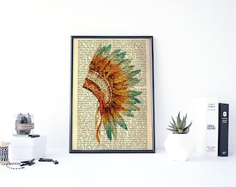 Dictionary Art Print, Indian Head Print, Indian Chief Wall Art, Indian Arrowheads Art, Native American Art