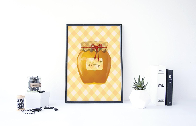 Honey Jar Print Honey Pot Print Kitchen Wall Art Kitchen | Etsy