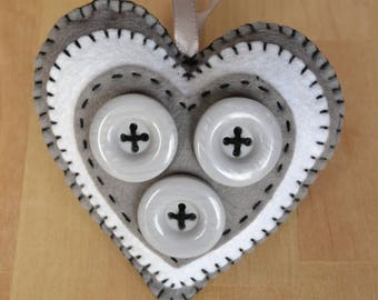 Decorative Heart with Button Detail
