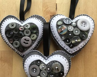 Set of 3 Decorative Hearts with Button Detail