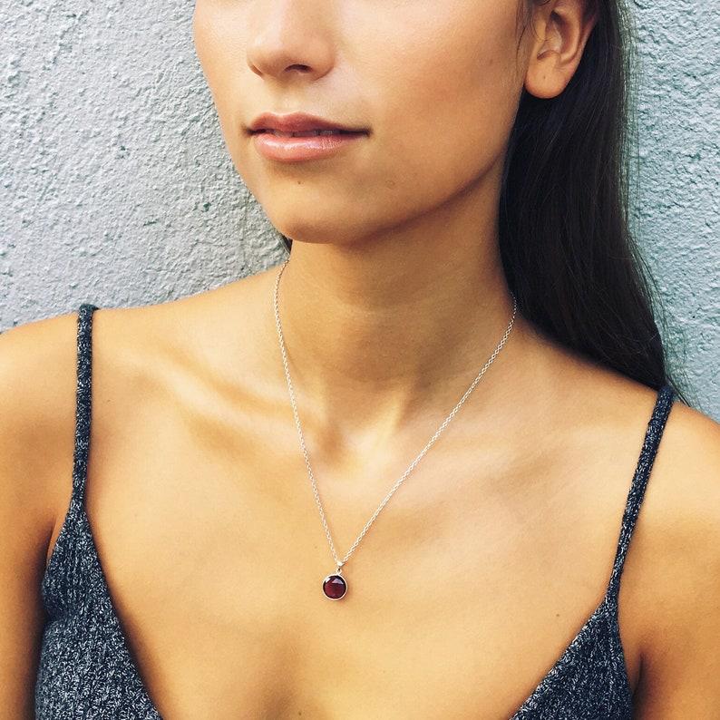 Birthstone Necklace Garnet Necklace Gold Gemstone Necklace Recycled Necklace. January Birthstone Charm Necklace Silver Garnet Charm