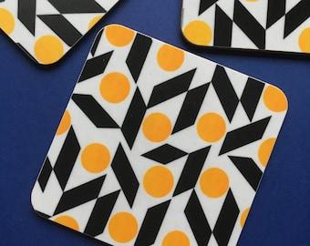 Rhombus  Coaster in Yellow & Black