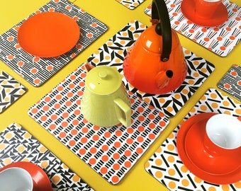 Placemats set of 12, orange tablemats, melamine placemats uk, midcentury modern tablemats, yellow cork placemats uk, cork tablemats uk