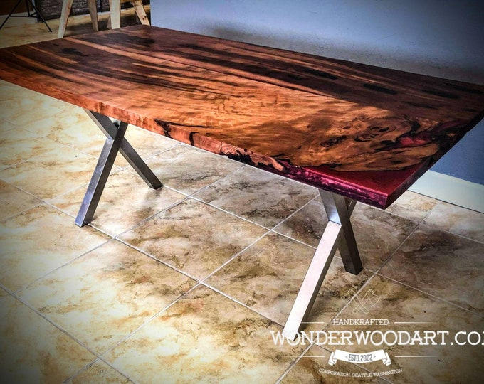 "Live Edge First Growth Costal Redwood Dining table with merlot color resin 68""x39"""