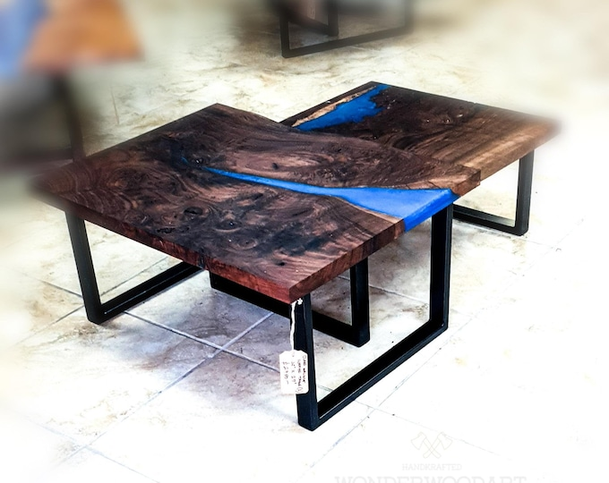 "Live Edge Claro Walnut coffee table with blue resin inserts 36""x27"" (2pcs)"