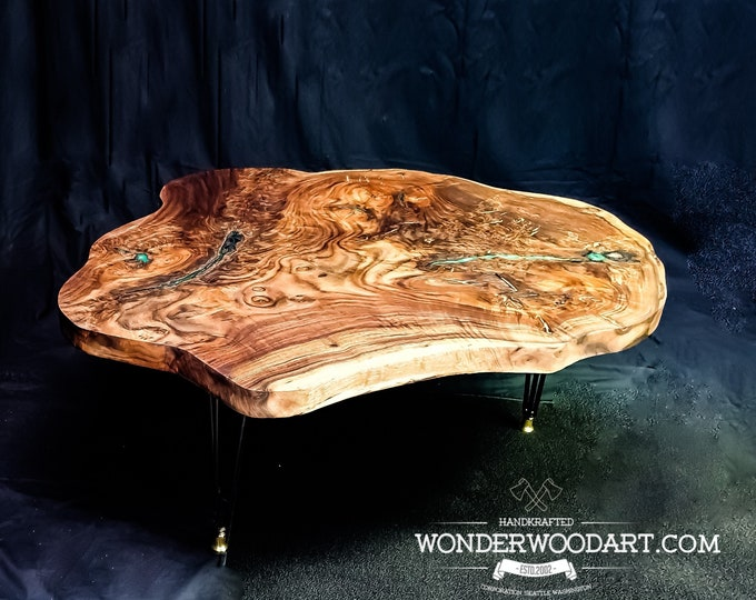 For CUSTOM ORDER Only! Live Edge Claro Walnut Coffee table with green resin