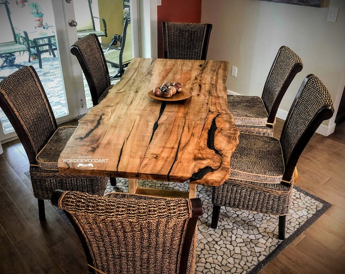 Live Edge Maple dining table with resin