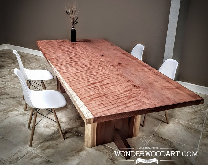 "Live Edge Curly Redwood dining table 106""x 52"""