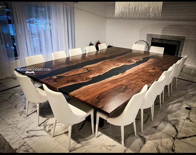 Live Edge Claro Walnut Dining table with resin, large conference table