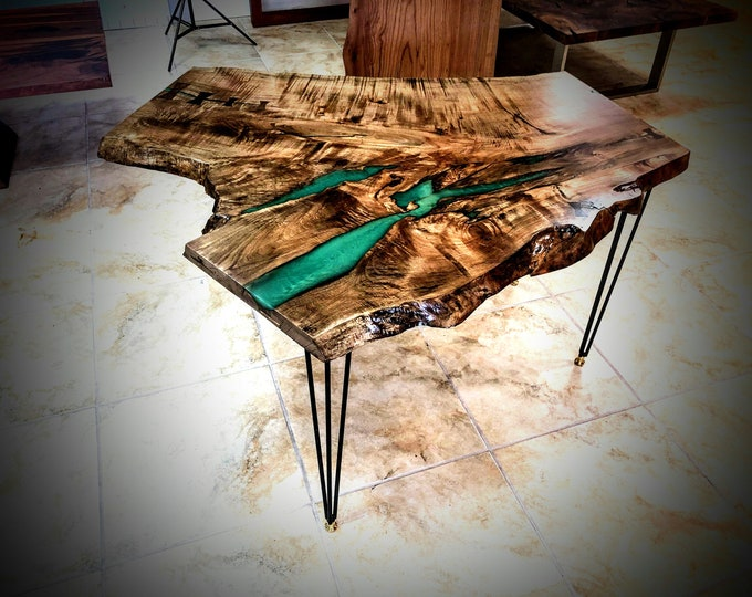 For CUSTOM ORDER Only! Live Edge Big Leaf Maple table with green resin