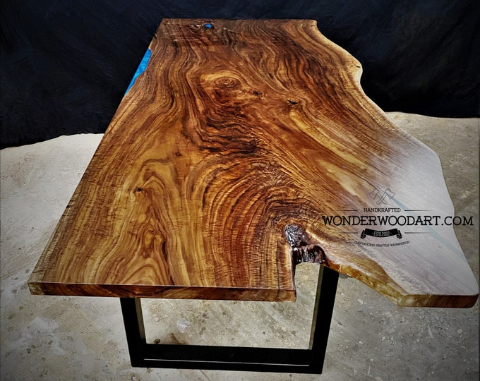 Live Edge Walnut dining table with resin