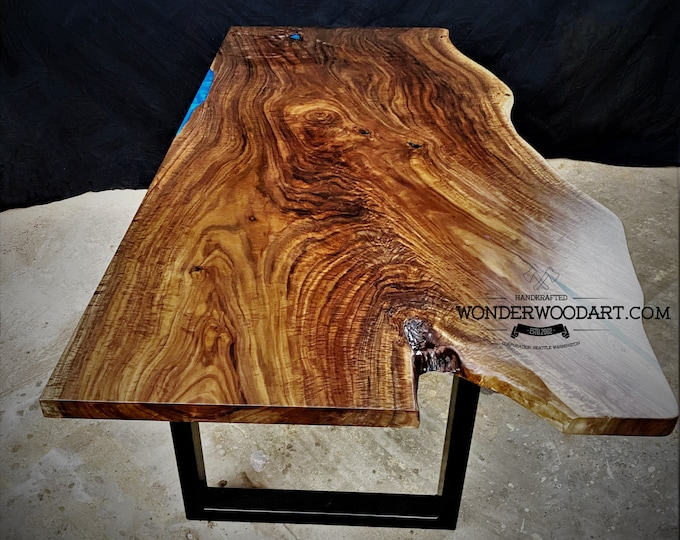 For CUSTOM ORDER Only! Live Edge Maple dining table with resin