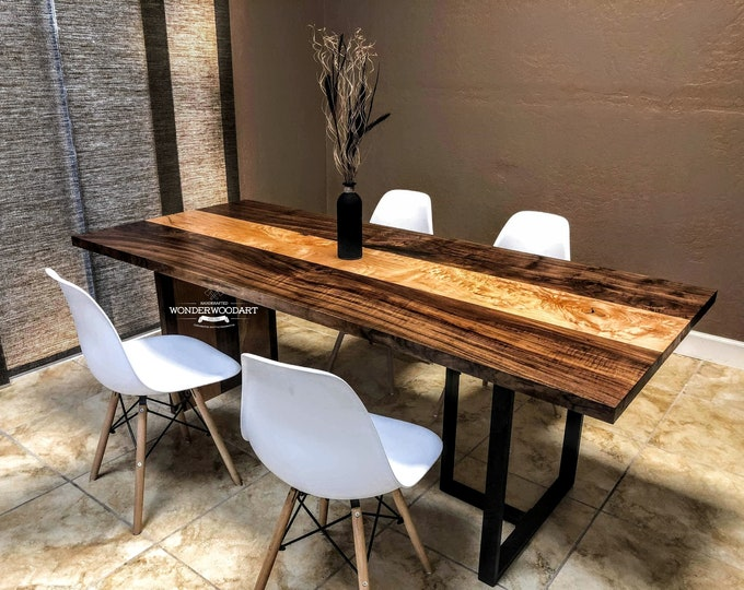 Live Edge Big Leaf Maple and Walnut combo dining table