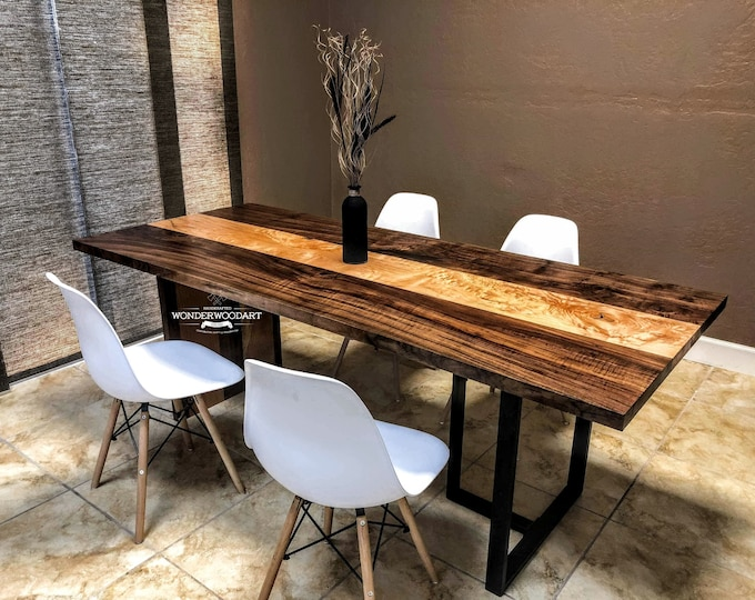 For CUSTOM ORDER Only! Live Edge Big Leaf Maple and Walnut combo dining table