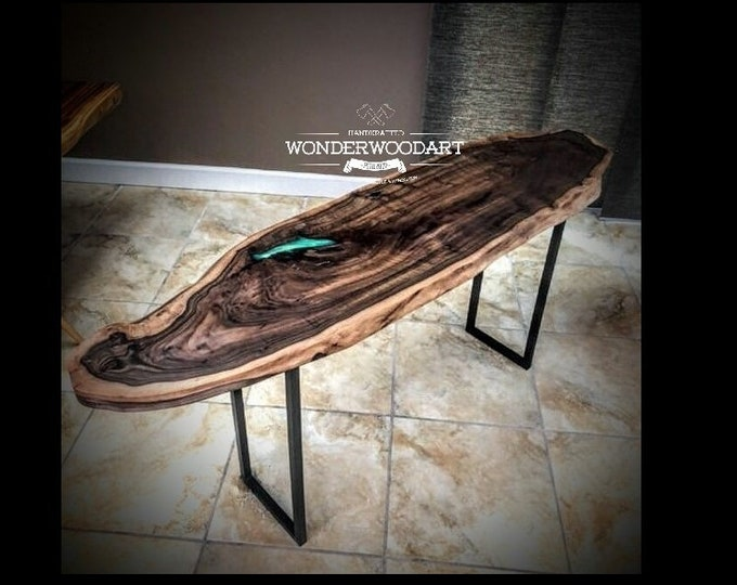For CUSTOM ORDER ONLY! Live Edge Claro Walnut entry table with green resin