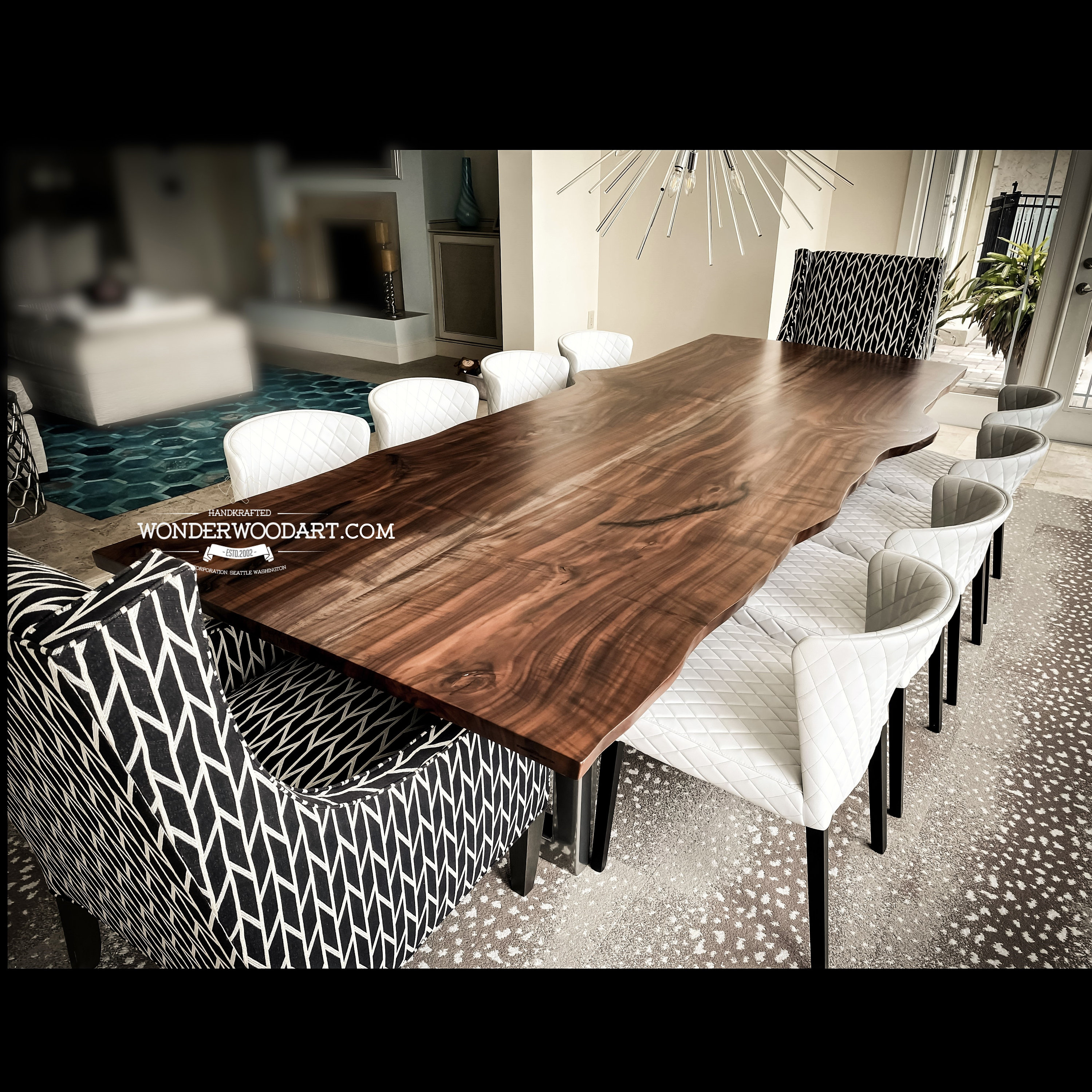For Custom Order Only Live Edge Maple Dining Table With Resin