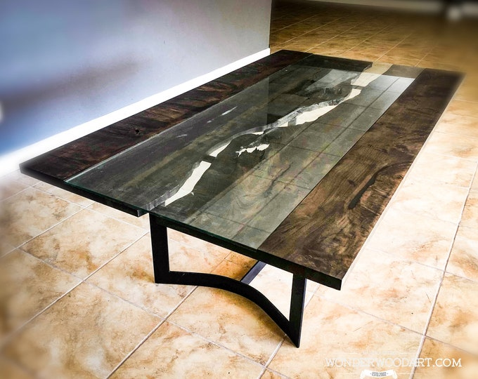 Live Edge Maple glass river dining table