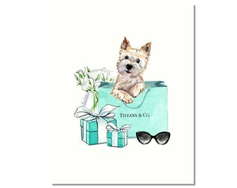 West Highland White Terrier Westie Gifts Tiffany Mom Blue Gift For Dog Pet Portrait