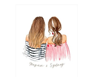 Personalized Best Friends Illustration Friend Birthday Gift Idea Drawing For Customized Gifts