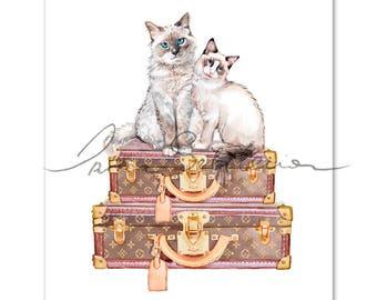 Custom cat portrait, Louis vuitton illustration, Louis vuitton print, Pet art cat, Watercolor art print, Pet art, Portrait, Louis vuitton