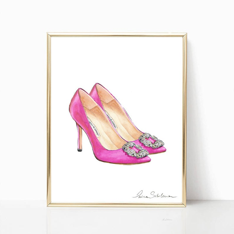 a95613a4 Manolo Blahnik Pink shoes Pink Heels illustration Fashion | Etsy