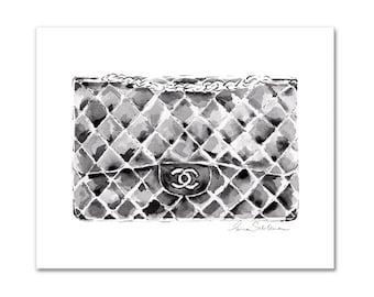Fashion Illustration Print, Chanel bag, INSTANT DOWNLOAD