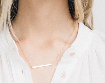 Long Skinny Bar Necklace, Personalized 14k Gold Filled, Sterling Silver, or Rose Gold Filled Sleek Bar / GLDN Skinny Bar Necklace, TURRELL