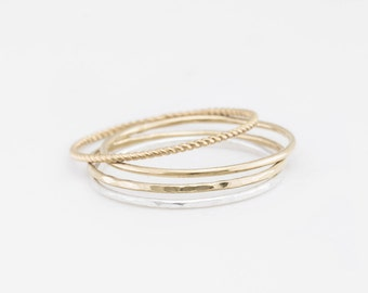 Ultra Dainty Stacking Rings • Extra Thin Stackable Bands • Simple, Delicate Rings • Custom Handmade Gold or Silver Ring by GLDN • Aire Ring