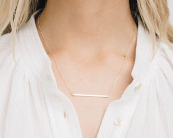 Ultra Skinny Gold Bar Necklace, LONG LINE Dainty Necklace, 14k Gold Fill, Sterling Silver, 14k Rose Gold Fill Layering Necklace / GN120_45_H