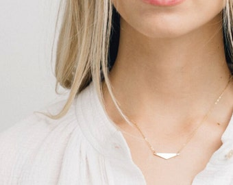 Triangle Bar Necklace, Gold Dainty Necklace/ 14k Gold Fill, Sterling Silver, 14k Rose Gold Fill / Geometric Jewelry, AVIATOR, GN156_28
