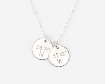 Coordinates Necklace, Dainty Disks Customized with your Latitude & Longitude!  Personalized Coordinates Disc Necklace by GLDN jewelry, GN209