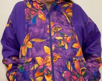 Vintage 1990s Anorak Jacket Pullover Ski Jacket Purple Large   Retro Windbreaker Pull Over Mid Weight Retro Ski Jacket Mens Large Womens