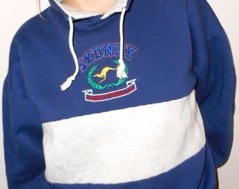 Retro 80's Sydney Australia Sweater, Oversized Sweater, Hooded Sweater, Size Large Sweater, Kangaroo Sweater, Colour Block Sweater, Hoodie