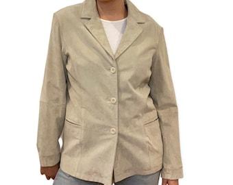 BEIGE SUEDE JACKET Vintage Jacket Coat 90s Suede, Minimalist Button Up, Size Medium, Cream Suede Oversized Blazer