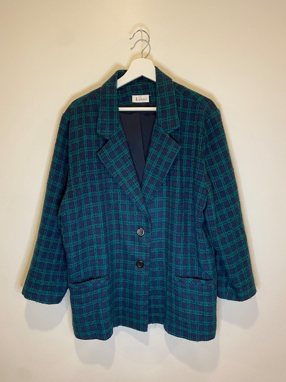 vintage oversized plaid blazer, Size Large, Vintag