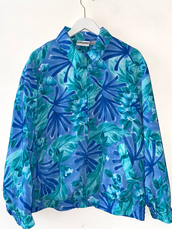 80s Hawaiian Zip Up, Floral Print, Vintage Lightwe