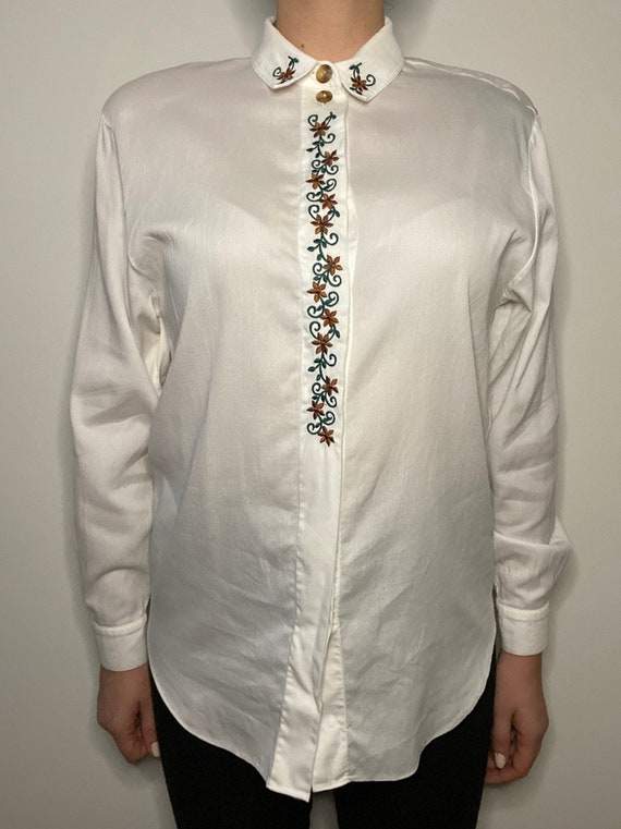 Vintage Turkish 80s Printed Button Up Blouse, Long