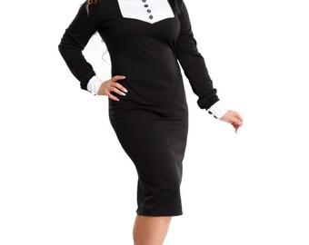 Black midi dress / Stand collar/ Jersey spring autumn dress/Frill dress  women/ dress white cuffs,Dress with buttons,Office business clothes