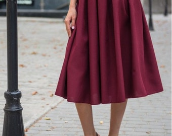 Burgundy  midi skirt / Spring Autumn Summer skirt for women / casual skirt / Autumn skirt / Cocktail Party / office business woman