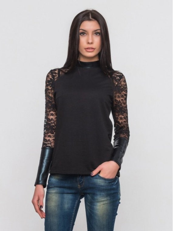 Spitzen-Bluse Combined Frau Bluse Eco Leder Kontrast schwarze   Etsy