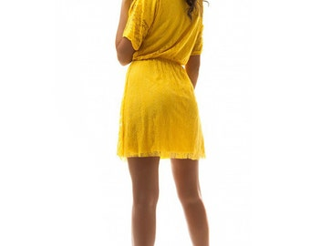 Yellow lace dress / yellow Wedding / Cocktail dress / bridesmaid dress / summer Yellow dress / Wedding Dress