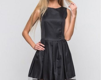 Black dress for woman/ Combined Spring dress /Mesh dress /Knee dress/ Tulle skirt/ Cocktail dress /Party dress