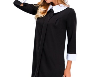 Black dress / Peter Pan collar / Autumn Winter dress / Office Black dress / white cuffs and collar / Contrast dress knee / Boho style