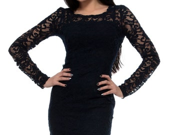 Black lace dress / elegant evening dress / Little Black Dress / Black Mini Dress / LBD