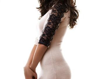 Beige dress decorated with guipure / Evening mini dress / short dress for women / Sexy beige dress Little dress Evening dress Elegant dress