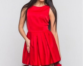 Red dress for woman/ Combined Spring dress /Mesh dress /Knee dress/ Tulle skirt/ Cocktail dress /Party dress