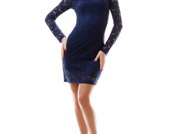 Dark blue lace dress / elegant evening dress / Little dark blue Dress / Dark blue Mini Dress