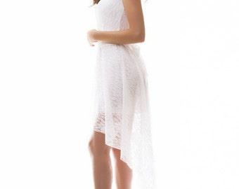 White lace dress / wedding dress / summer dress / Asymmetric Dress / Prom Dress / Bridesmaid dress / Occasion  white dress