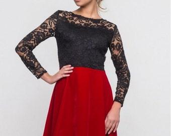 Elegant dress for woman / Guipure cocktail dress / wedding dress contrast / Black red dress for girls / Prom dress
